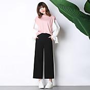 firmarán nuevos modelos de primavera grandes bolsillo del pantalón pantalones anchos de la pierna estudiantes pantalones casuales elástico