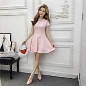 新しい女性の本物のショット春の韓国語バージョン' sのファッションスリム薄い半袖ラウンドネックニットワンピースセクシー