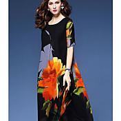 Dámské Jednoduché Jdeme ven Běžné/Denní Volné Šaty Jednobarevné Květinový,Krátký rukáv Kulatý Maxi Podšívka Polyester Léto Mid RiseLehce