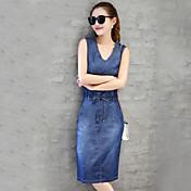 リアルショット女性の夏2017デニムドレスカジュアルデニムスカートスリム気質韓国のバージョンの長いセクション