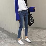 2017 Corea del signo para hacer el viejo era delgada franja de mezclilla delgada pantalones lápiz pantalones pies femeninos del ribete