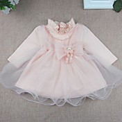 Vestido Bebé-Fiesta/Cóctel-Un Color-Algodón Poliéster-Primavera Otoño-