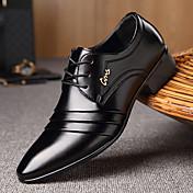 Hombre Zapatos Microfibra Primavera Otoño Confort Oxfords Paseo Con Cordón Combinación Para Casual Negro