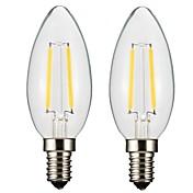 2W E14 E12 Bombillas de Filamento LED CA35 2 COB 300 lm Blanco Cálido Regulable AC 110-130 AC 100-240 V 2 piezas