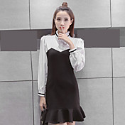 記号のドレス2017新しい女性の韓国のステッチ長袖ドレスシャツ底パッケージヒップフィッシュテールスカート