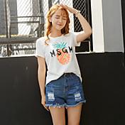 Verano nueva camiseta de manga suelta estudiantes femeninos algodón coreano impreso de manga corta sección larga de bambú