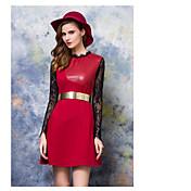 2016年、新たなPUレザー女性の長袖のドレスは薄いスリムレースのステッチがパフスカートを底打ちした署名