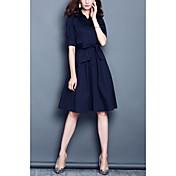 Manga 2017 del vestido de la cintura de la solapa del color sólido de la tendencia de la nueva moda del resorte 2017