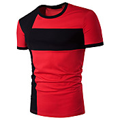 Uden ærmer Rund hals Tynd Herrer Geometrisk Farveblok Sommer Simpel Aktiv Afslappet/Hverdag Sport T-shirt,Bomuld Rayon