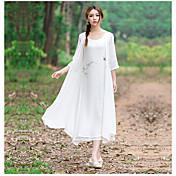 サイン春と夏2016新しい中国スタイルの手描きの平織りの麻のドレス