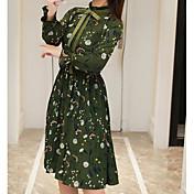 2017年春エレガントなレトロ勾配気質リボンプリーツドレスに署名