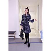 スカートの底打ちをフラウンスサイン韓国の新しい冬のレトロな小花コーデュロイロングドレス