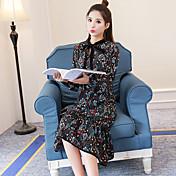新しい緩い長袖の花柄のドレスは韓国の長いセクションのプリントドレスの女性春の女性をフラウンス付きのサイン