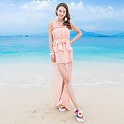 モデル本物のショットサスペンダーはシフォンドレスのスリットウエストケーキスカートリゾートビーチをフラウンス付き