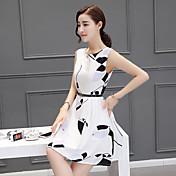 女性'夏の韓国スリムウエストラウンドネックノースリーブドレスホワイトプリンセスドレス小さな新鮮な
