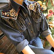 Hombre Bonito Chic de Calle Sofisticado Noche Casual/Diario Vacaciones Camisa,Escote Chino Estampado Manga Larga Algodón Rayón