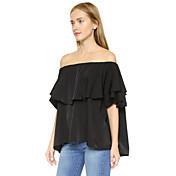 アマゾンルーズ大型女性'ソリッドカラーシャツの蓮の葉のカバーレイヤーワードの肩のストラップレス半袖シャツ