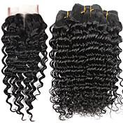 Cabello humano Cabello Brasileño Tejidos Humanos Cabello Produndo Extensiones de cabello 5 Piezas Negro