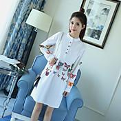 2017 primavera nuevo tridimensional de mariposa bordado linterna manga camisa collar vestido falda sección de largo
