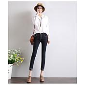 nueve vaqueros del agujero pies femeninos alta cintura de cobre negro crimp ruptura 2017 modelos de primavera personalidad era delgada que