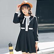 春の新しい小さな香りの風の弓黒いスカートは、単語が細い長袖のドレスだった