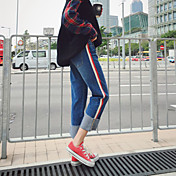 Mujer Tiro Medio Micro-elástica Vaqueros Pantalones,Corte Ancho Un Color