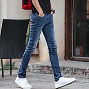 2017春と夏の男性' sのジーンズはスリムな足に男性の長ズボンの流入を伸ばします' sのカジュアルなブルー