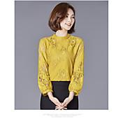 2017新しくかなり薄い袖のシャツ韓国の緩い短いシャツのレースのシャツの薄いセクション