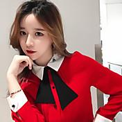 Signo stock coreana muñeca cuello arco blusa salvaje temperamento flojo de manga larga mujer camisa de gasa