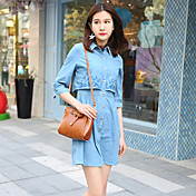 Mujer Línea A Vestido Uso Diario Escuela Cita Bonito,Color sólido Cuello Camisero Sobre la rodilla Manga 3/4 N/A Verano Tiro Medio