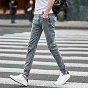 若い学生の男性のスリムパンツの足のズボンの流入の7夏のストレッチジーンズの男性バージョン