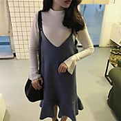 韓国ウールフィッシュテールスリングドレス+高襟ホーン半分スリーブニットシャツにサイン