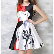 Signo europea pierna moda impresión cintura vestido europa comercio exterior