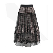 estilo europeo 2017 primavera y el verano hilados red punto faldas de costura de la tela escocesa