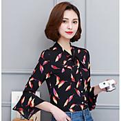 Signo primavera nueva mujer de manga larga camisa trompeta mangas camisa de gasa flounced camisa floral con una pajarita