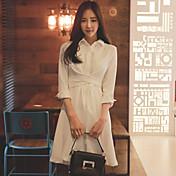 春に署名2017年の韓国のショッピング女性はスリムな包帯ドレス白の長袖の長いセクションを気質