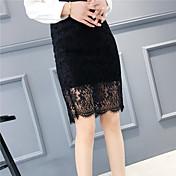 Mujer Sexy Trabajo Oficina Para trabajo Cotidiano Casual Fiesta y Noche Sobre la Rodilla Faldas,Línea A Color puro Verano PrimaveraUn