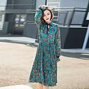 早春2017新しい韓国の長袖シフォン花柄のドレスは細い腰プリーツスカートスリム底入れしました