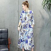 Signo # 2017 primavera nuevas mujeres de gran tamaño&# 39; s nacional de impresión de viento placa de botones de manga larga vestido