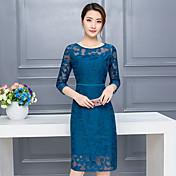mujer&# 39; s de primavera 2017 nueva ola de largas secciones de encaje vestido de la gasa delgada Dongkuan 2016 temperamento
