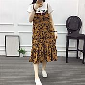 本当のショットは、野生の花のドレス学生の薄いストラップの緩いシフォンスカートの長いセクションでした