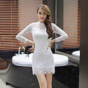 Mujer Línea A Vestido Fiesta de Noche Fiesta de Cóctel Fiesta de Boda Cita Sexy Bonito,Color sólido Escote Redondo Sobre la Rodilla, Mini