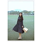 モデル#6199新しい本物のショット新鮮な甘い鳥のプリントシフォン長袖のドレスのファッションの潮流