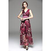 2016 nueva bohemia puesto en una sección larga del vestido de la gasa grande