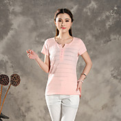 a196#2015新しい夏のVネック中空ジャカードニットは、野生の固体色の甘い半袖Tシャツの女性を栽培