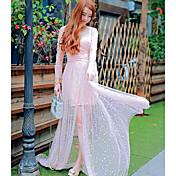 2016 nuevo verano de gama alta recurso refinado estética perspectiva gasa vestido de protección del sol ropa femenina sección larga