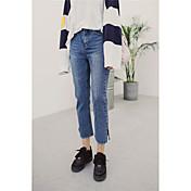Signo 2017 coreano lavado desgaste blanco puños ranura bordes weila jeans