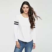 Feminino Camiseta Happy-Hour / Casual Simples / Moda de Rua Primavera / Outono,Listrado Branco / Preto / Cinza Poliéster Decote Redondo