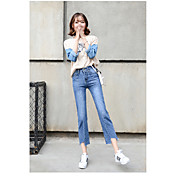 Signo 2017 coreano salvaje retro alta cintura amplia pierna pantalones rasgado bordes suelta nueve puntos jeans mujer