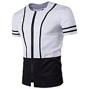 メンズ カジュアル/普段着 Tシャツ,シンプル ラウンドネック ソリッド コットン 半袖
